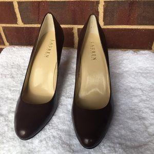 Lauren Ralph Lauren brown upper leather heels.